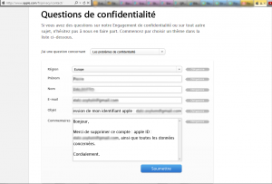 Formulaire de demande de suppression sur le site Apple