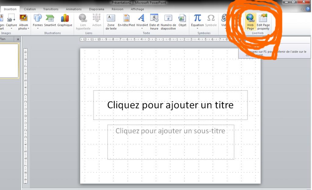 Intégration de LiveWeb dans PowerPoint