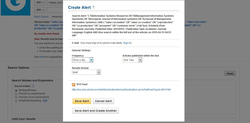 An example of the actual process to setup an alert on EBSCO